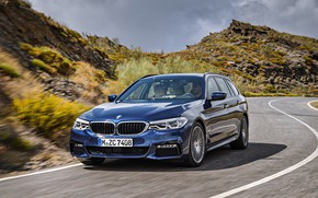 Picture the sky, markup, vegetation, the slopes, BMW, mountain road, universal, xDrive, Touring, 530d, 5, dark …