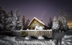 Wallpaper winter, snow, night, house