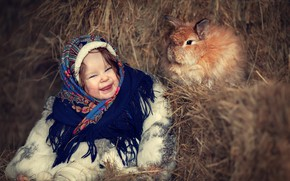 Picture winter, happiness, smile, rabbit, hay, girl, shawl