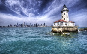 Wallpaper USA, Illinois, Chicago, Harbor Lighthouse