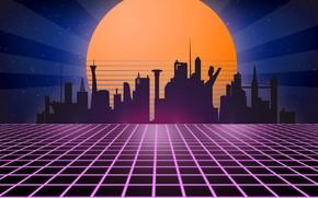 Wallpaper retro, retro, tron, neon, 1980, synth wave, retrowave, retrouve