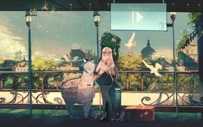 Picture girl, anime, art, Lama, ori (momonimo)
