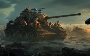 Wallpaper art, American, soldiers, birds, dirt, tanks, field, clouds, sunset