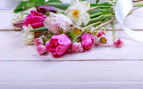Picture flowers, bouquet, spring, colorful, buds, wood, pink, flowers, spring