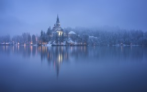 Picture winter, fog, lake, island, morning, Slovenia, Lake Bled, Slovenia, Lake bled, Bled, Assumption of Mary …