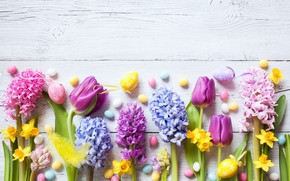 Wallpaper spring, colorful, Easter, daffodils, tulips, crocuses, the painted eggs, spring, Happy, decoration, wood, Easter, tulips, ...