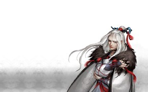 Picture girl, warrior, fantasy, art, tape, kanzashi, Cape