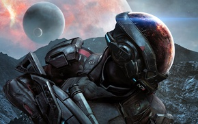 Wallpaper BioWare, Mass Effect, Earth, Electronic Arts, Space, Planet, Mountains, Mass Effect: Andromeda