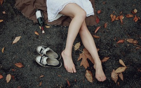 Picture autumn, leaves, girl, mood, bottle, sneakers, legs