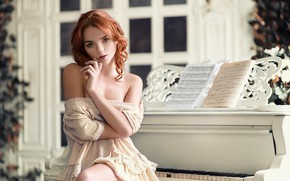 Picture girl, notes, room, dress, piano, window, neckline, red, shoulders, curls, Catherine Seriukova, Mikle Nemirovskiy