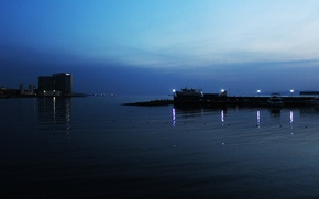 Picture sea, nature, lights, boat, the evening, yacht, Russia, promenade, Vladivostok