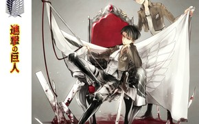 Picture the wreckage, boots, emblem, guys, the throne, swords, boots, military uniform, banner, straps, Eren Jaeger, …