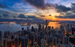 Picture night, Hong Kong, China, skyscrapers