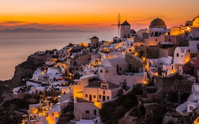 Picture sunset, the city, home, the evening, Greece