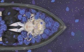 Picture girl, roses, anime, art, blue roses, House no Kuni