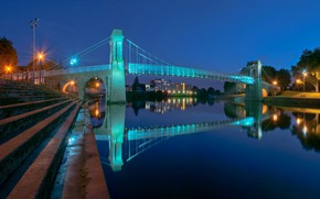 Picture bridge, lights, England, home, support, Meadows