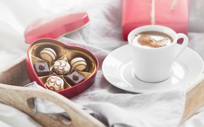 Wallpaper candy, love, romantic, chocolate, gift, coffee, breakfast, valentine`s day