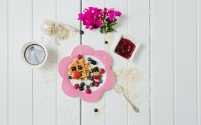 Picture berries, Breakfast, jam, wafer, oatmeal