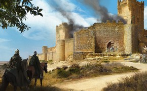 Picture the sky, clouds, weapons, smoke, armor, warrior, knight, Fortress