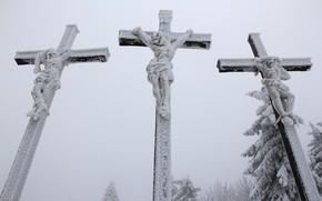 Picture snow, cross, crucifix