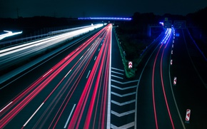 Picture light, road, night, speed