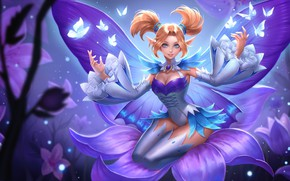 Picture girl, butterfly, flowers, smile, magic, the game, wings, art, fake, ROV, Krixi, Mobile Arena