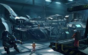Picture robot, hangar, astronauts, base, camera