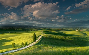 Picture summer, the sky, clouds, field, Italy, meadows, Tuscany