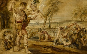 Picture tree, oil, picture, Peter Paul Rubens, mythology, Kadmos Sowed in a Field of Dragon's Teeth