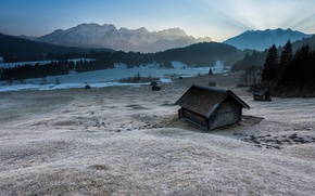Picture cold, winter, frost, field, forest, the sky, grass, snow, mountains, hills, tops, morning, ate, valley, …