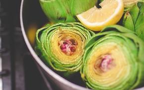 Picture yellow, green, lemon, artichokes