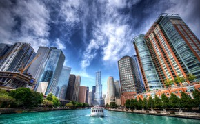 Wallpaper Chicago, hdr, the sky, skyscrapers, Chicago, Illinois, Il, Chicago River, building, ship, the Chicago river, ...