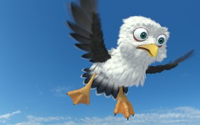 Picture art, flight, bird, bird, children's, Egor Ilyin, Gull cartoon