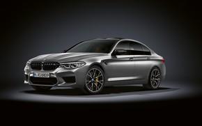 Picture grey, background, BMW, sedan, dark, 4x4, 2018, 625 HP, four-door, M5, V8, F90, 4.4 L., …