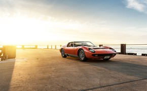 Picture Sunset, The sun, The sky, Color, Sea, Auto, Lamborghini, Machine, Pierce, Classic, Light, Orange, 1971, …