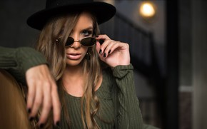 Picture look, pose, model, portrait, hat, makeup, dress, glasses, hairstyle, brown hair, beauty, bokeh, Manthos Tsakiridis, …