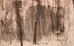 Picture winter, snow, trees, house, shop, lantern, Svetlana Nesterova, A premonition of war
