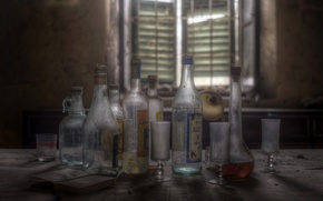 Picture background, bottle, glasses