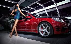 Picture Girls, Mercedes, Asian, beautiful girl, red car, beautiful dress