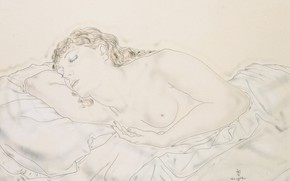 Picture watercolor, Tsuguharu, Fujita, Reclining Nude, (Madeleine), ink and Lavis on paper