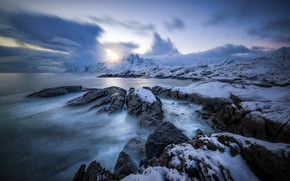 Picture Nordland, Norway, Vester Nesland, sea, Norway, coast, winter, Lofoten