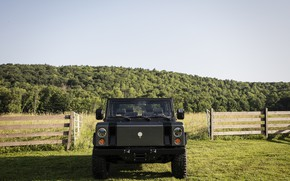 Picture greens, the sky, vegetation, the fence, gate, SUV, electric, Bollinger, B1 Electric Truck