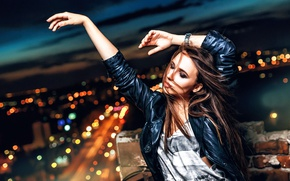 Picture girl, dance, night city