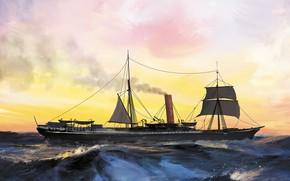 Picture wave, ship, nubian, Transatlantic Ships