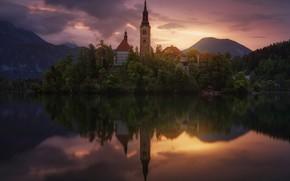 Picture lake, castle, Slovenia, Bled