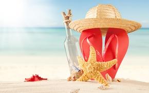 Picture sand, sea, beach, summer, the sun, hat, summer, beach, vacation, sand, slates, vacation, starfish, seashells