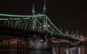 Picture night, river, Hungary, Budapest, The Danube, Liberty Bridge