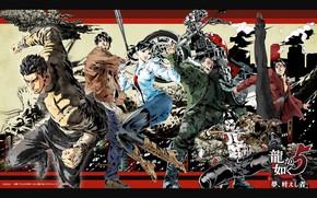 Picture girl, game, man, mafia, tatoo, singer, brunette, knife, Sega, Yakuza 5, japonese, Yakusa