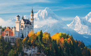 Picture autumn, forest, the sky, clouds, trees, mountains, castle, Germany, Bayern, Neuschwanstein Castle