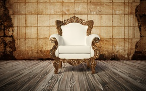 Wallpaper wood, Armchair, white leather